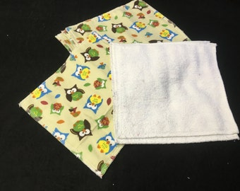 baby cloth wipes owls set of 4