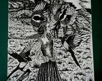 The Five Magpies Print