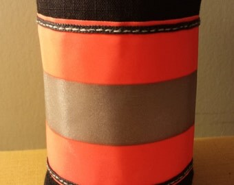 Firefighter Turnout Treasures Can Wrap.  Black with Red Orange Reflective Trim.  Great Firefighter Gift.