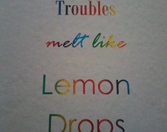 Real Foil Distressed Lemon Drops - Over the Rainbow Lyric Quote A4 Home Decor Print