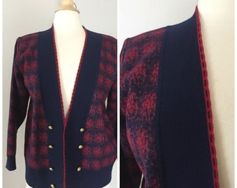80's Navy Blue Cardigan / Abstract Double-Breasted Button Up Sweater / Granny Cardigan