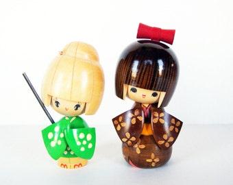 Kokeshi Japanese Wooden Dolls, Usaboro Bobbed Hair Pair of Dolls