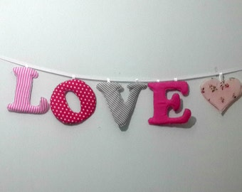 baby name banner, Nursery wall letters, Girl nursery letters, Wall hanging fabric letters, Pink nursery decor,Personalized baby gift