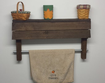 Rustic pallet wood shelf with towel rod