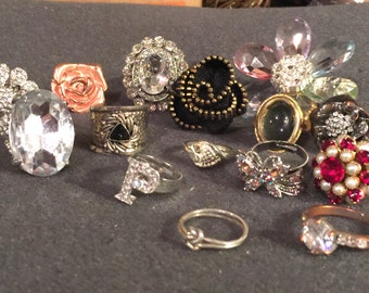 Large lot of destash junk jewelry rings for jewelry making
