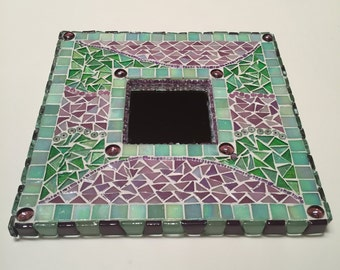 Green and Purple Mosaic Mirror