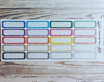 20 Glitter Quarter Box Planner Stickers: Perfect for Erin Condren, Happy Planner, and Personal Planners!