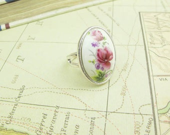 Hand Painted Flower Ring