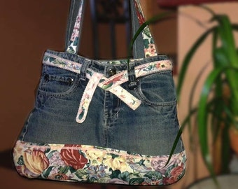 Recycled jean bag and floral cotton closed and Interior zipped Pocket