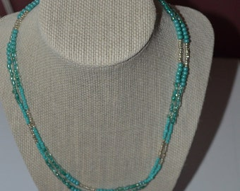 Turquoise with silver accents long single (or double) strand necklace