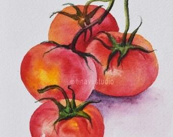 Vegetable art. Vegetable painting. Tomato watercolor. Original tomato watercolor painting. Original vegetable watercolor painting. Small art