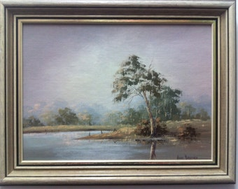 Anne Bossence Misty Morning Original Oil Painting in Beautiful Decorative Frame. Australian Art For Sale.
