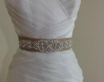 burlap rustic bridal sash,