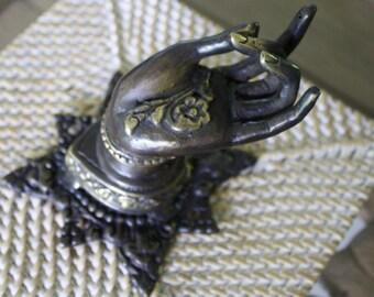 Brass Buddha Abhaya Mudra Hand Pull, Tea Towel / Jewellery Hanger, Vintage Balinese - Large