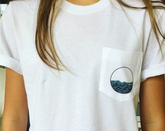 T-Shirt with Pocket and Wave Design