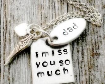 Personalized Memorial Necklace, Silver, Dad