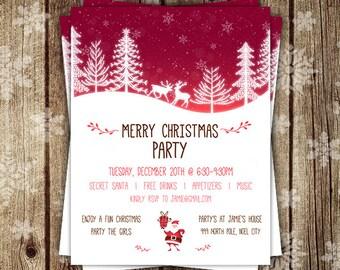 Christmas Flyer, Christmas Party Flyer, Merry Christmas Flyer, Personalized Flyer, Girly Christmas invite, custom Christmas flyers, DIGITAL