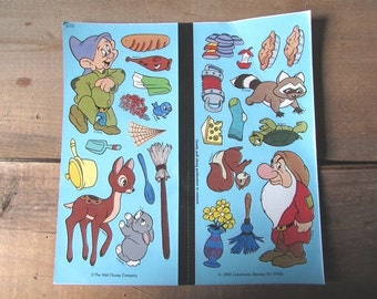 Vintage Disney Colorforms Bambi and Dwarfs ONE Sheet
