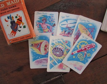 6 Old Maid Cards Vintage Space Age Edition