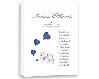 Naming Day Ceremony, Dedication Day Art Gift For Baby Boy, Baby Elephant, Baby Baptism Day Art