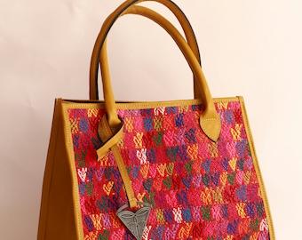 Chrisanthemum hand bag, Leather  & unique fabric