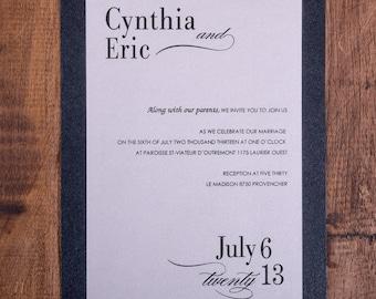 Black tie wedding Invitation, Calligraphy Wedding Invitation, Formal Invitations, Black and white Wedding Invitations, formal invitations
