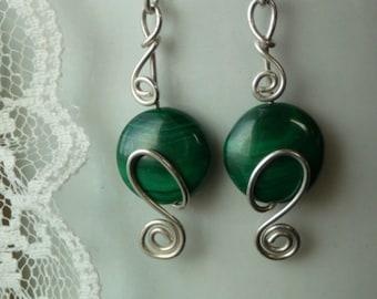 Malachite Earrings wrapped in Sterling Silver