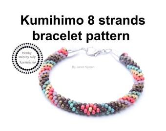 Kumihimo pattern tutorial 8 strands Multicolors Bracelet Pattern PDF