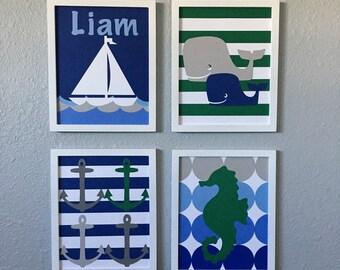 Nautical Nursery Art Navy Blue Green Framed Set of 4 8x10 handmade Seahorse Anchor Whale Ship Boat Ocean Sea Nautical Nursery Decor Striped