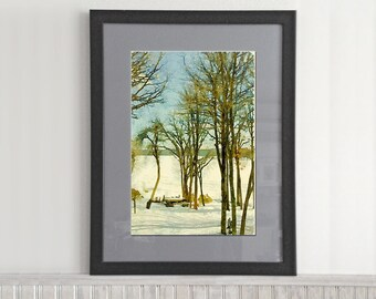 Watercolor Winter Lake