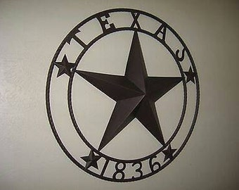 32 1836 Texas Barn Star Lone Star With Ring Design Western Metal Art Home Decor