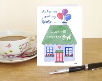 """A6 Greetings Card - Joshua 24:15 """"As for me and my house, we will serve the Lord"""" (Christian Bible verse)"""
