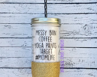 Mom Life Glitter Dipped Tumbler // Glitter Cup // Cup for Mom //