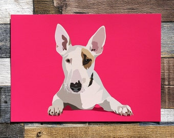 English Bull Terrier Illustrated Dog Print