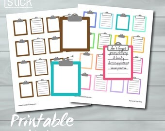 Clipboard Printable Stickers - List Planner Stickers - JPG - Organize your Day! - Perfect for Erin Condren, Happy Planner & Others !
