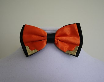 Bow tie orange and black with metal corner