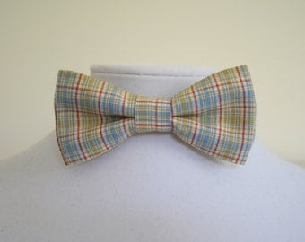 red blue green and white plaid bow tie for man