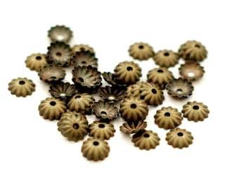 50 x Bead Caps 6 mm Bronze
