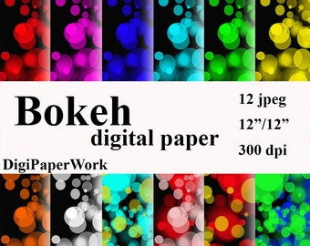 Bokeh Digital Paper, Bokeh pattern, Instant download, Bokeh background, for Personal and Commercial Use