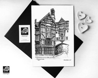Liberty of London Black and white print from original pen and ink hand drawn illustation