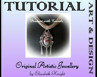 Turquoise pendant with Tassels Wire Wrapping Step-by Step-Tutorial Instant Download