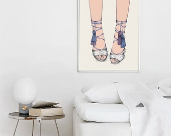 Poster illustration shoe pompom