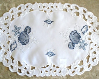 "17.5"" x 11.5"" Embroidered Doily / Place mat  Seashell Nautical Ocean Beach House"