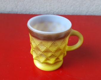 Vintage Fireking Kimberly Mug//Geometric Spiked Golden Yellow and Brown Ombre  Pattern