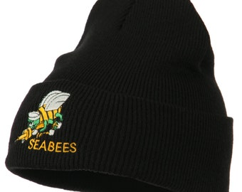 US Navy Seabees Embroidered Cuff Long Beanie