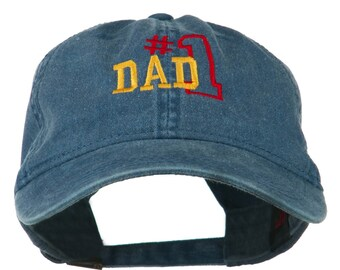 Number 1 Dad Embroidered Washed Cotton Cap