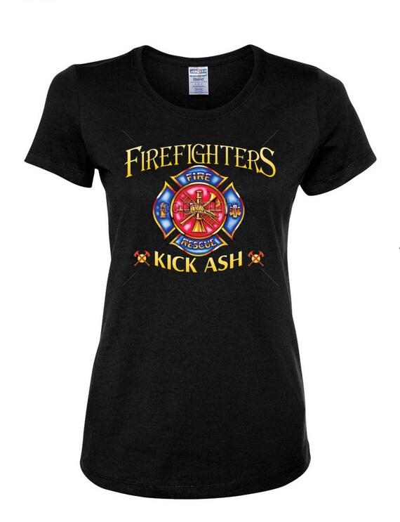 Firefighters kick ash funny women 39 s t shirt fireman by ngtshop for Kicks on fire t shirt