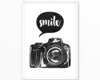 Camera, smile, snap, Print, printable, art, digital, Typography, Poster, Vintage, Grunge,Inspiration Home Decor, Screenprint, wall art, gift