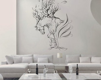 Fantasy horse Wall Decal, Living Room Wall Decal, Fantasy Wall Vinyl, Home Art Wall Decal, Horse Wall Decal, Wall Sticker for House 057
