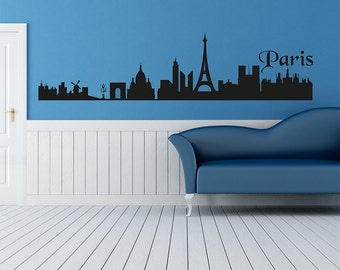 Paris Wall Decal, Landscape Nature Paris, House Art, Wall Room Decor, Art Vinyl Sticker, Design Interior City Silhouette Paris 041
